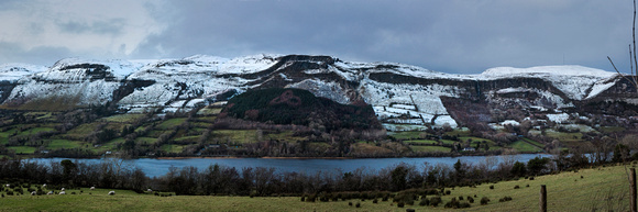 Glencar valley with frosted hills, Panoramic
